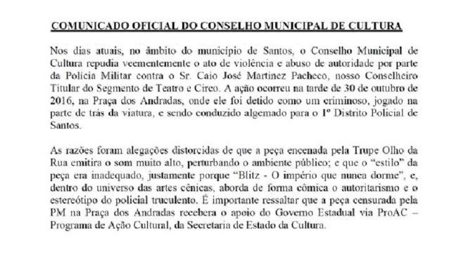 #PraçaDosArtistas: Concult, Movimento Teatral e Vila do Teatro repudiam censura policial