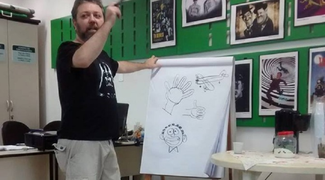 Alex Ponciano expõe charges e caricaturas na Gibiteca de Santos
