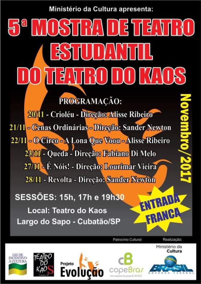 Com sessões gratuitas, segue 5ª Mostra de Teatro Estudantil do Kaos
