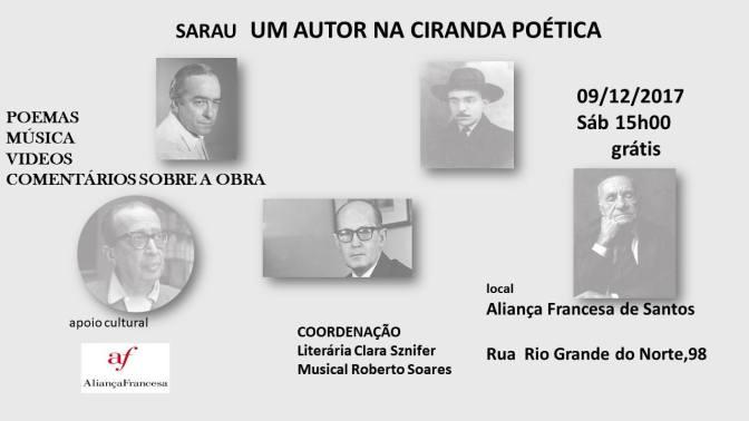 Sarau 'Um autor na ciranda poética' neste sábado