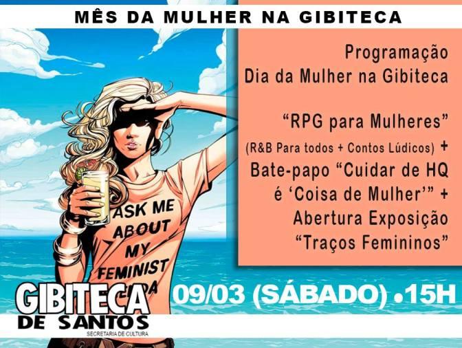 Mulheres pautam exposição, roda de conversa e RPG na Gibiteca de Santos